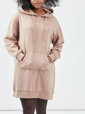 Robe sweat taupe femme