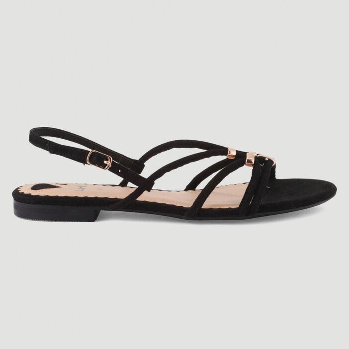 Sandales fines brides avec bijoux femme noir