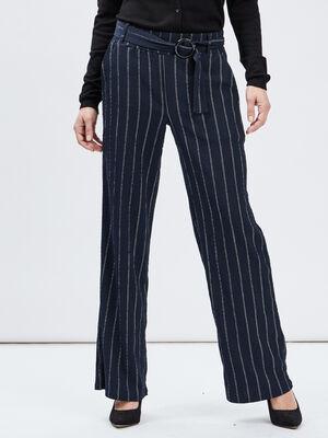 Pantalon droit ample bleu marine femme