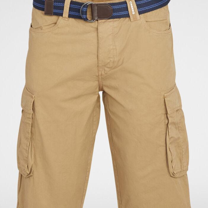 Bermuda battle coton avec ceinture homme camel