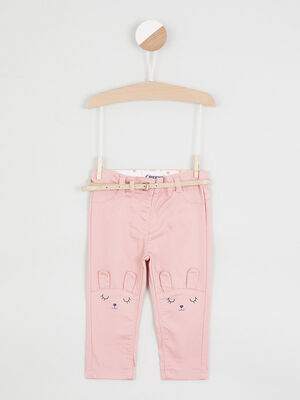 Pantalon coupe slim broderies lapin rose fille
