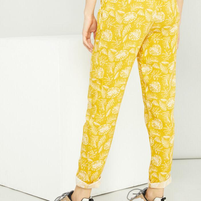 Pantalon ample à pampilles femme jaune moutarde