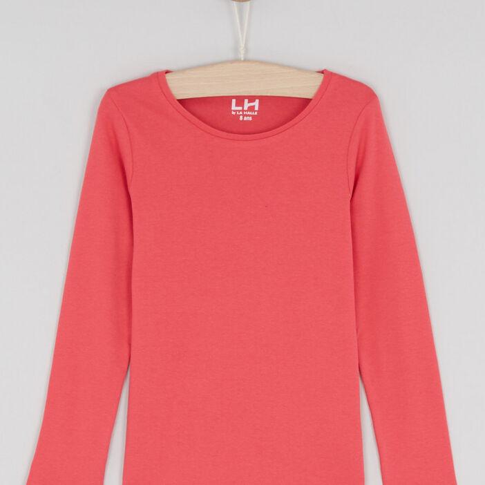 T-shirt uni en coton fille rose framboise
