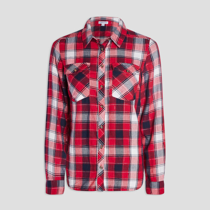 Chemise manches 3/4 femme rouge