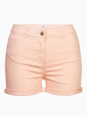 Short uni taille basse orange femme