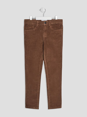 Pantalon slim velours cotele taupe garcon
