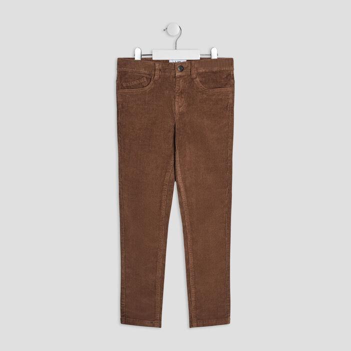 Pantalon slim velours côtelé garçon taupe