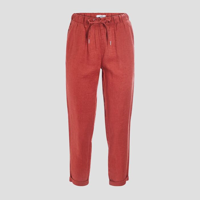 Pantalon droit fluide femme terracotta