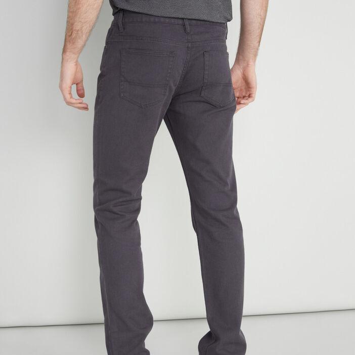 Pantalon regular coton uni homme gris foncé