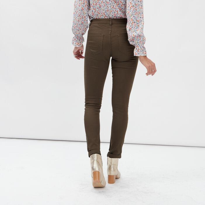 Pantalon skinny taille basse femme vert kaki