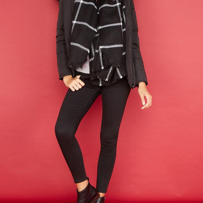 Écharpe à carreaux bicolore mixte noir
