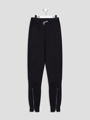 Jogging droit a details zippes noir garcon