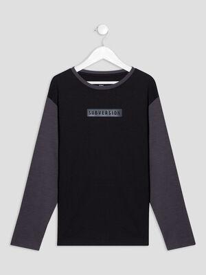 T shirt manches longues noir garcon