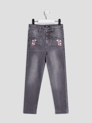 Jeans slim brode 78eme denim gris fille