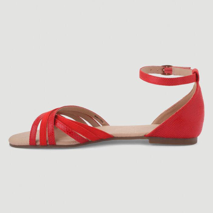 Sandales plates détails reptile femme rouge
