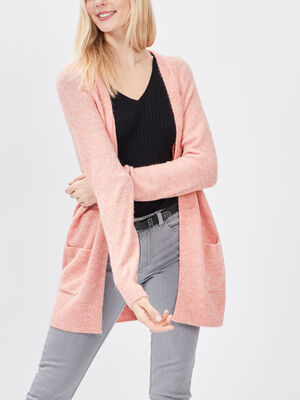 Gilet manches longues rose femme