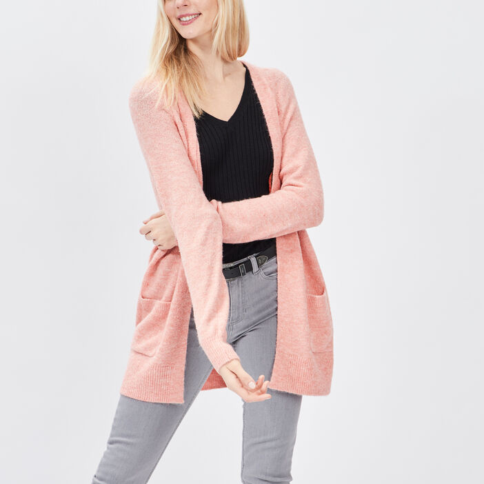 Gilet manches longues femme rose