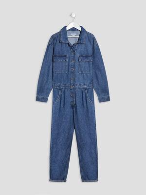 Combinaison pantalon en jean denim stone fille