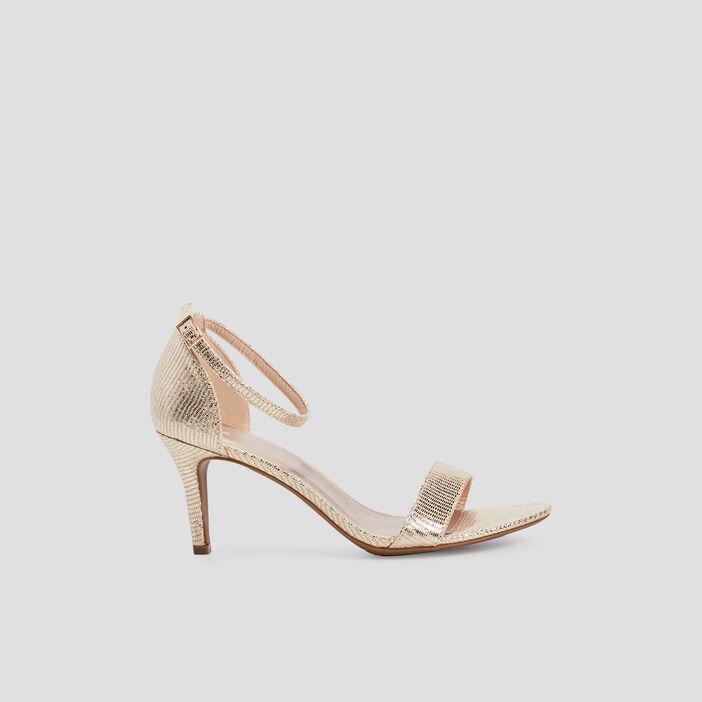 Sandales à talons aiguilles femme couleur or