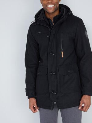 Manteau droit zippe a capuche noir homme