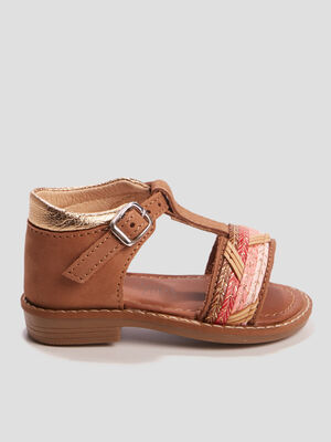 Sandales en cuir Pat et Ripaton marron bebef