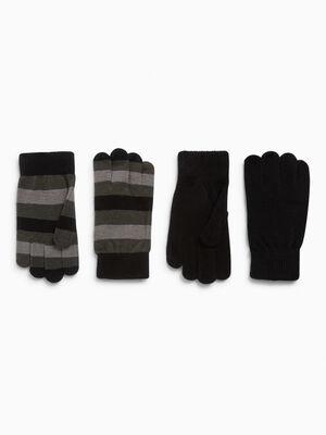 Lot 2 paires gants noir mixte