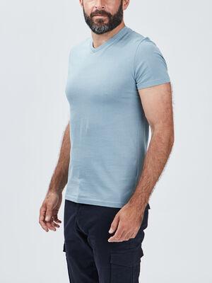 T shirt manches courtes bleu gris homme