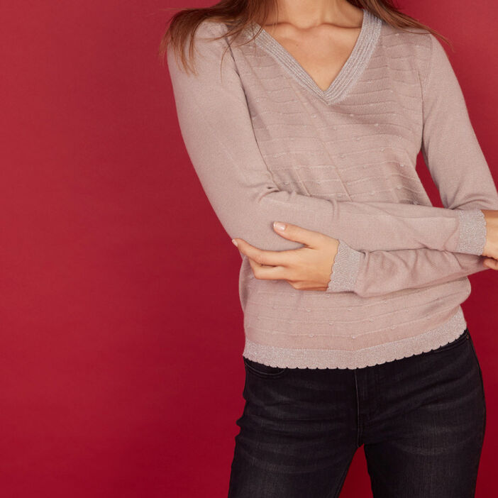 Pull points fantaisie col V femme rose clair