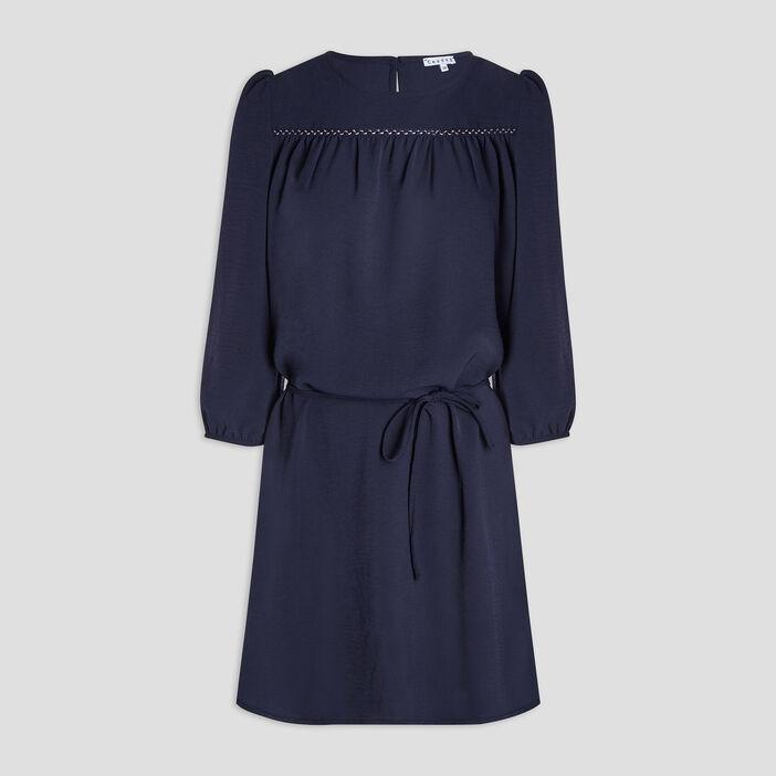 Robe droite ceinturée femme bleu marine