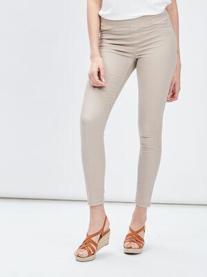 Pantalon jegging beige femme