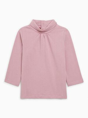 T Shirt col roule coton majoritaire parme fille