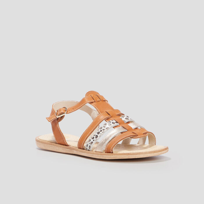 Sandales plates en cuir fille marron