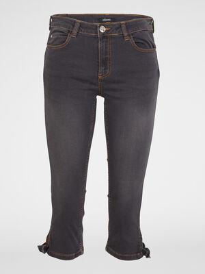 Jean avec noeud bas jambe gris femme