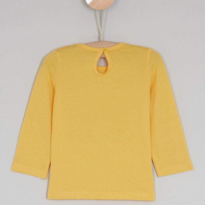 T-shirt col rond à message bébé fille jaune