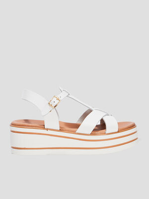 Sandales compensees en cuir blanc fille