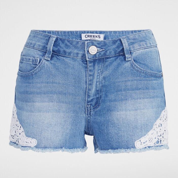 Short en jean avec broderies femme denim double stone