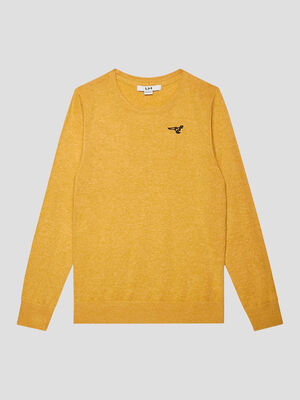Pull manches longues jaune moutarde garcon