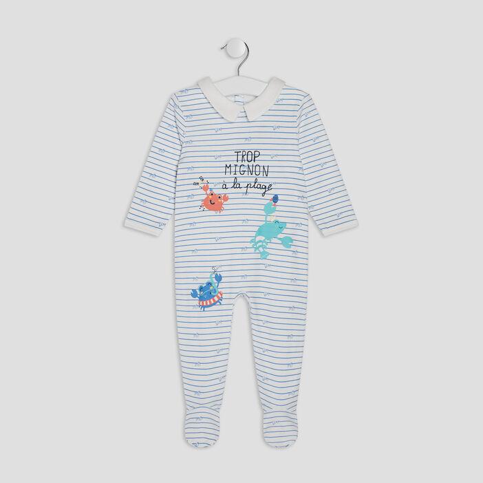Dors-bien avec col claudine bébé garçon bleu ciel