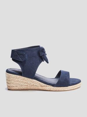 Sandales compensees Liberto bleu marine fille