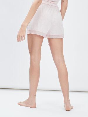 Short de pyjama avec dentelle rose femme