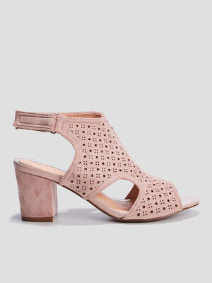 Sandales a talons perforees rose femme