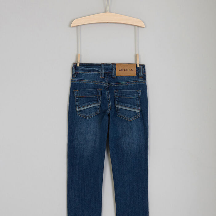 Jean brut coupe regular revers garçon denim stone