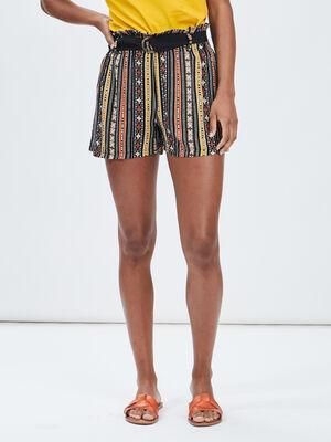 Short ample ceinture ecru femme