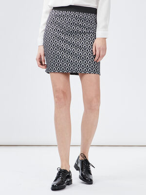 Jupe droite taille elastiquee bleu marine femme