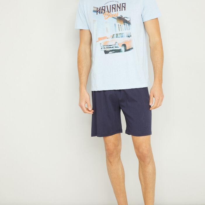 Pyjama court avec imprimé homme bleu