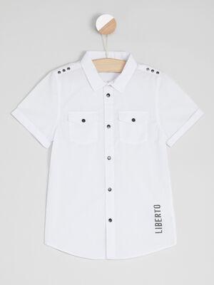 Chemise avec poches et boutons blanc garcon