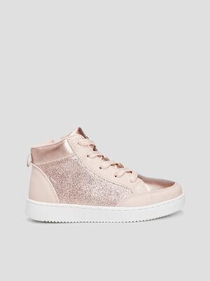 Baskets montantes rose fille