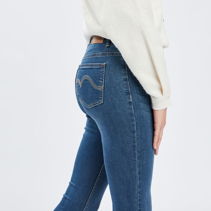 Jeans slim taille standard femme denim dirty