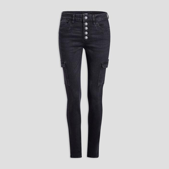 Jeans battle boutonné femme denim snow noir