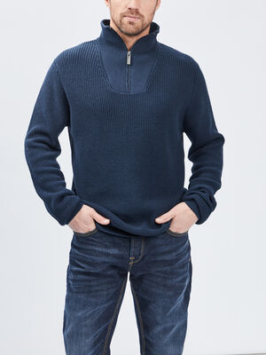 Pull a col montant bleu marine homme